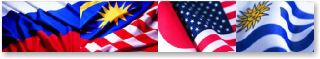 Flaggor Ryska Malaysiska Japanska USA Uruguay