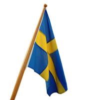 Båtflaggstång med svensk flagga