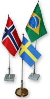 Bordsflaggor Sverige Norge Brasilien