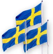 Tre svenska flaggor