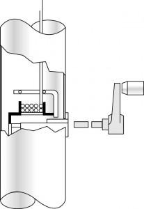 Vevmekanism invändig lina på flaggstång